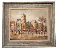 Large Italian Mid-Century Impressionist Cityscape DeVity Oil Painting