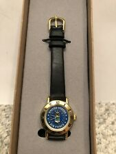 United States Air Force Women Watch Gold Face Black Leather Strap 12 Water Res