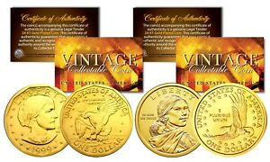 Susan B. Anthony & Sacagawea 24K Gold Plated US Dollar Historical Women Coin Set