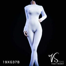 "1/6 White Slim Tights Stretch Long Sleeve Suit For 12"" PHICEN TBL Female Doll"