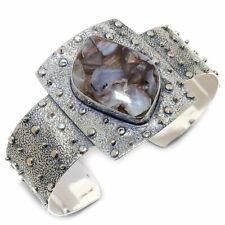 Copper Rainbow Moonstone Gemstone 925 Sterling Silver Cuff Bracelet Adjustable