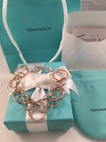 Tiffany & Co Silver & Rubedo 1837 Interlocking Circles Bracelet $2700 W RECEIPT