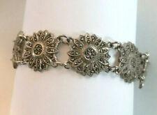 "Antique Art Deco Sterling Silver Bracelet Marcasite Sunflower 7.75"" 33g 925 #373"