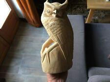 Chouette, hibou bois sculpté a la main hauteur 24 cm