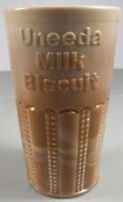 Greentown Chocolate Glass Uneeda Milk Biscuit Advertising Tumbler (Pre Nabisco)