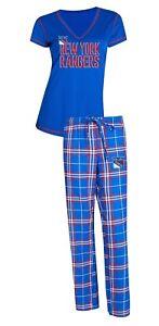 "New York Rangers NHL ""Super Duo"" Women's T-shirt & Flannel Pajama Sleep Set"