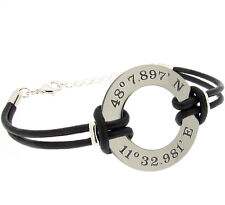 GPS Coordinate Leather Bracelet for Men. Custom Mens Wristband. latitude cuff