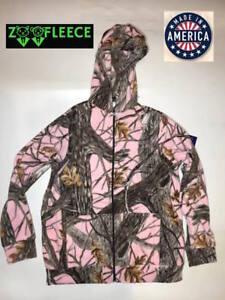 ZooFleece Pink Camo Winter Hoodie Camouflage Women Sweater Hunting Full Zip Hood