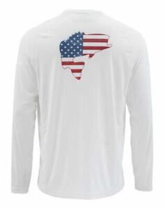 NEW SIMMS Solarflex LS Crewneck Shirt Graphic Bass Flag White Size 3XL