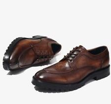 Британские ретро мужские настоящая кожа платье праздничные туфли на шнуровке бизнес дата оксфорды