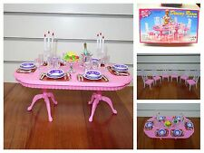 Furniture Play Set Barbie Size Dollhouse Dining Room PINK Doll Chair Table