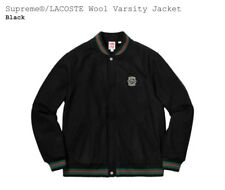 Supreme Lacoste Wool Varsity Jacket Black Size Large In Hand Ready To Ship