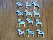Scandinavian Swedish Wooden Dala Horses ~ Bag of 12 assorted flowers #EL751
