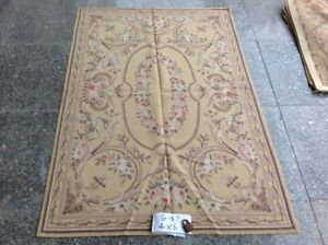 4'X6'Beautiful Victorian Pink Rose Antique Brown Swirl HandWoven Needlepoint Rug
