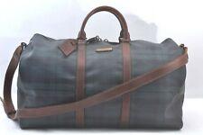 Authentic POLO Ralph Lauren Vintage Green Check Leather Travel Boston Bag 99319