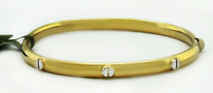 SOLID 14K YELLOW GOLD BANGLE SCREW DESIGN BRACELET * New With Tag *