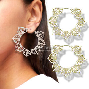 Ethnic Hindu OM Filigree Lotus Flower Mandala Hoop Earrings Gold Buddhism Yoga