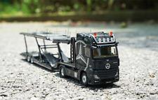 1/64 Mercedes tractor, alloy trailer frame, alloy car model of transport vehicle