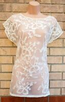 NEXT WHITE CREAM BUTTERFLY EMBROIDERED SHORT SLEEVE LACE BLOUSE TOP SHIRT 8 10 S