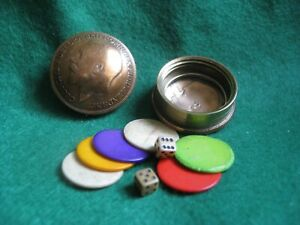 Vintage WW1 1916 Real Penny POCKET GAMES POT with CONTENTS Trench Art MINIATURE
