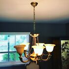 Vintage Alabaster Chandelier 5 Light Gilt Bronze Neoclassic Hollywood Regency