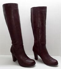 Dexflex By Dexter Brugundy Knee High Faux Leather High Heel Boots Size 8M