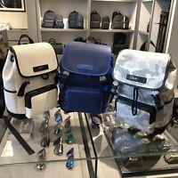 Michael Kors Mens Large Leather Travel Shoulder  Backpack Bag Black White Grey