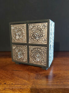 HANDMADE MINI SILVER METAL 4 DRAWER CHEST,EMBOSSED IN A FLOWER DESIGN -FREE POST