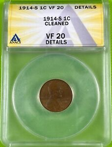 1914 S 1c Lincoln Wheat Cent ANACS VF20 Details Cleaned