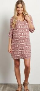 PinkBlush Maternity Burgundy Tribal 3/4 Sleeve Dress Size Medium Baby Shower