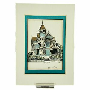 Eileen David Hand Colored Lithograph, San Francisco Victorian Home, Signed 1993