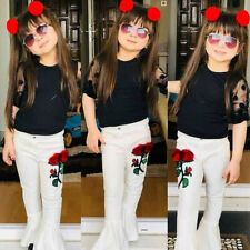Toddler Kids Baby Girl Tulle Tops T-Shirt Flower Flared Pants Outfit Clothes Set