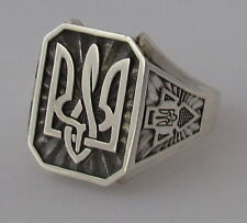 Mens St. Silver Ring Size 10, Ukrainian Trident Tryzub, Right Sector, Oxidized