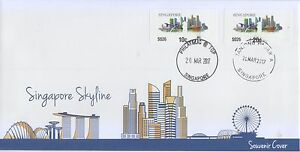 SINGAPORE 2017 NEW SAM FRAMA POSTAGE STAMP LABEL (SKYLINE) ON SOUVENIR COVER 01