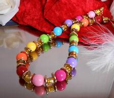 Trendstarke Halskette - Collier - Bunte Farben - Perlen 14 mm