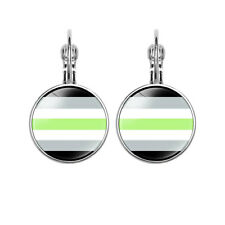 Gay Pride Jewelry Glass Round Earrings Earrings Christmas Gifts Ms. Gifts