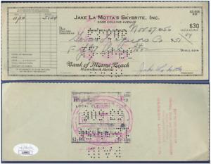 Jake LaMotta JSA Authenticated Signed 1956 Check !!!!