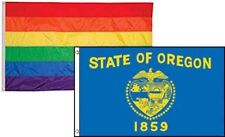3x5 Gay Pride Rainbow & State Oregon 2 Pack Flag Wholesale Combo 3'x5'
