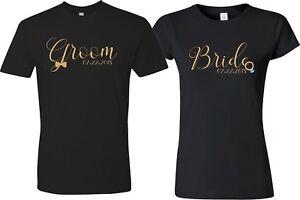Groom Bride Gold Custom WeddingDate Valentine Gift Love matching cute T-Shirts