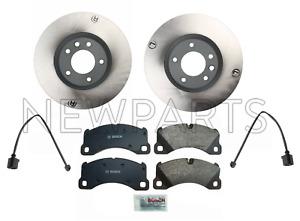 For Porsche Cayenne VW Touareg Set of 2 Front Disc Brake Rotors & Pads & Sensors