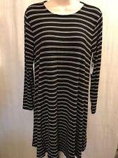 Old Navy Dress M Black White Striped Rayon Stretch New 200308