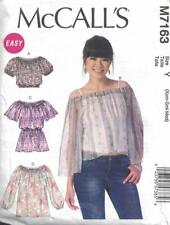 McCall's M7163 Misses Loose Fitting Peasant Tops Size XS - M Easy to Sew