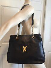 Vintage Paloma Picasso Black Leather Shoulder Bag Handbag Large Tote Gold Chain