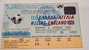 FOOTBALL USED TICKET STUB Greece v ENGLAND 2001 Athens