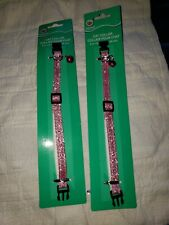 "Lot of 2 * Cat collar breakaway with bell, 8""-12"", pink glitter"