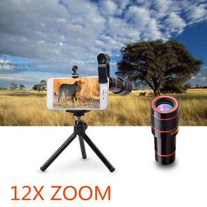 Clip-On 12x Optical Zoom Lens Telescope Telephoto For Mobile Phone Camera B6E7
