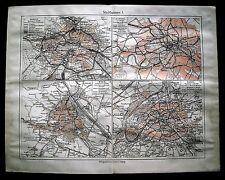 1890 .MAPPA GEO-TOPOGRAFICA - TOPOGRAFIA.LONDRA.BERLINO.VIENNA.PARIGI.Meyers