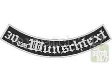 Rückenpatch Aufnäher Wunschtext Bogen unten 30cm gestickt MC Biker Rocker Kutte