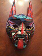 Vintage Mexican Horned Devil Mask folk art Hand carved & painted Wood mask SALE