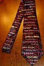 Mens Black Christian Neck Tie I Jesus Christ Alpha and Omega ... On A New Tie!